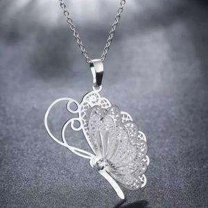 New multi wing butterfly necklace silver